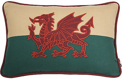 "12""x18"" Welsh Red Dragon Wales Flag Cymru Tapestry Couch Cushion - Double Sided"