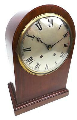 Amazing Antique German Quarter Strike Mahogany Inlaid 2 Gong 8 Day Bracket Clock