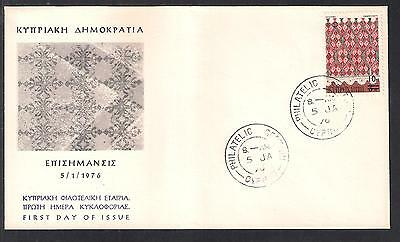 Cyprus 1976 Cotton Embroidery Lace Making 10M Surcharge On 3M Unofficial Fdc