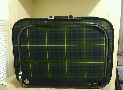 Vintage Plaid Grasshopper Carry On Suitcase Luggage- FREE SHIPPING