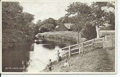 ELGIN On the Lossie Moray Early Postcard Child Fishers