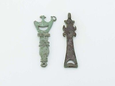 B328. Roman bronze pendents, artifacts lot of two