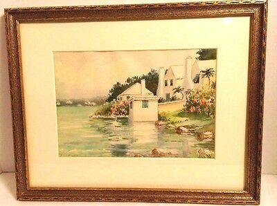 Orig Watercolour attr CATHERINE/ETHEL TUCKER Bermuda early 1900s ROUND THE LANE