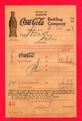 Vintage dated 1921 receipt from the Coca Cola Bottling Plant in Marion, S.C.