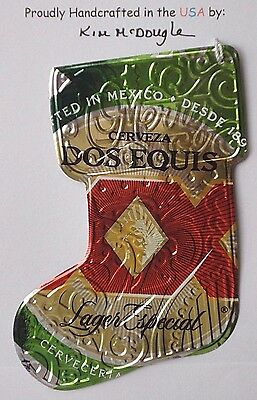 Lg Stocking Handmade Christmas Ornament Recycled Aluminum DE Mexican Beer Can