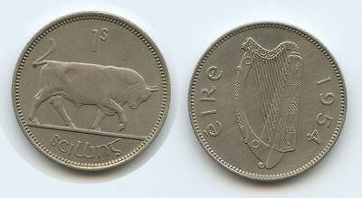 G7803 - Irland One Shilling 1954 KM#14a TOP Erhaltung Bulle Stier Ireland Éire