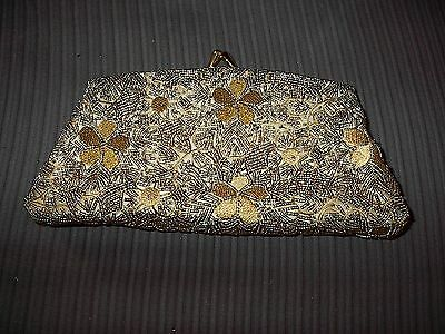 Franchi Gold Beaded Evening Purse w/ Chain Strap