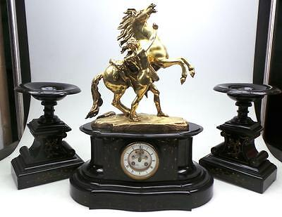 Antique 8 Day French Marly Horses Mantel Clock Slate Bronze Marble Figural Clock