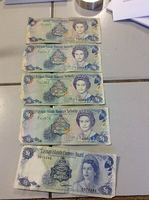 Lot of 5 Cayman Islands currency banknote ONE DOLLAR