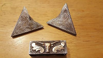 Sterling Silver Hand Engraved Collar Tips and Scarf Slide