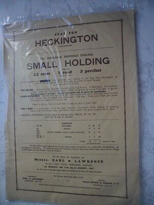 Vintage Auction Poster For Small Holding Star Fen Heckington Lincs August 1947