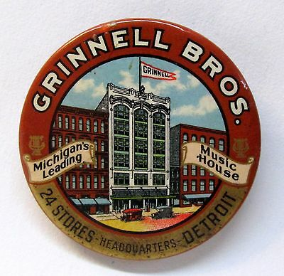 c. 1915 GRINNELL BROS. MUSIC Detroit MICH. advertising celluloid pocket mirror *