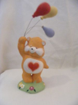 Vintage Care Bear Figurine - Bear with Heart and Balloons