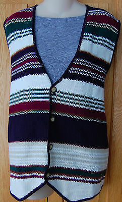 VINTAGE Womens INDIAN Mexican BLANKET VEST L / XL 90s BOHO Festival Hippie Red