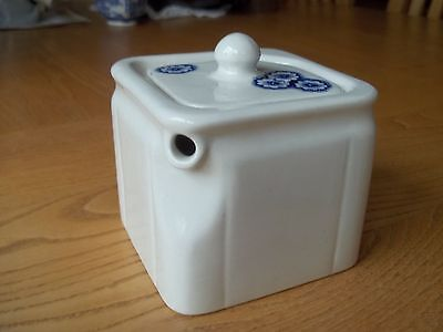 Burleigh ( Burgess & Leigh ) Ironstone Cube Teapot - Blue And White - Superb
