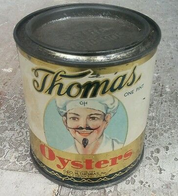 THOMAS OYSTER tin can Raw Vintage Antique 1 Pint CINCINNATI OHIO Advertising