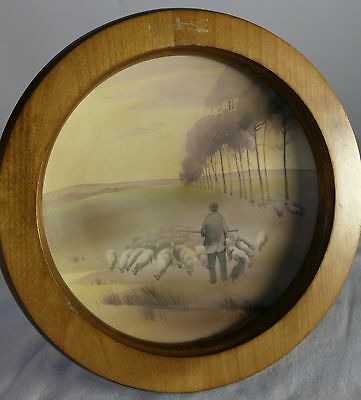 Hand Painted Nippon Plate Period Framed Wood Shepherd In The Meadow