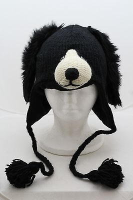 Border Collie HAT knit cap ADULT mens womens FLEECE LINED dog BLACK lab costume