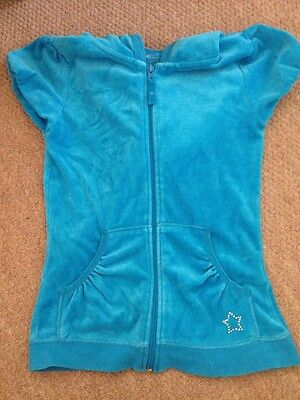 Girls velour Turquoise Short Sleeved Hoody  YD Primark Age 12-13 Vgc