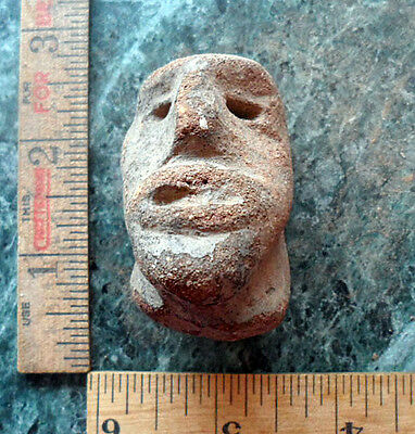Pre Columbian Clay Head Ceramic Figure Fragment from Antiquitiy from Estate #8