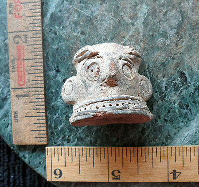 Pre Columbian Clay Head Ceramic Figure Fragment from Antiquitiy from Estate #9