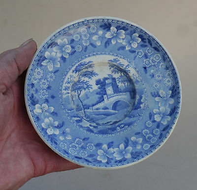 Rare 18thC SPODE Creamware PEARLWARE Blue&White SAUCER Tower Pattern Perfect