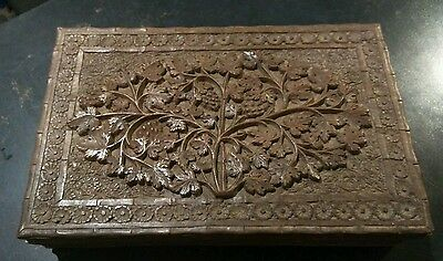A Vintage Hand Carved Embossed Wooden Box