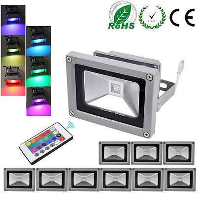 10X 10W RGB LED Flood light 16Color Change Outdoor Garden light with IR Remote