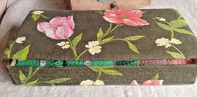 """Vintage Fabric Covered Box, Green Pink Blossoms, French Boudoir Storage 14"""" x 7"""""""