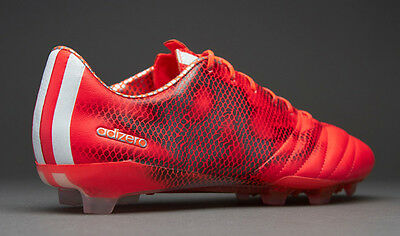 NEW adidas F50 adizero FG AG UK 8.5 8 Mens Leather Football Boots Red White