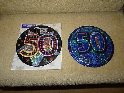 50Th Birthday Badges X 2 Large