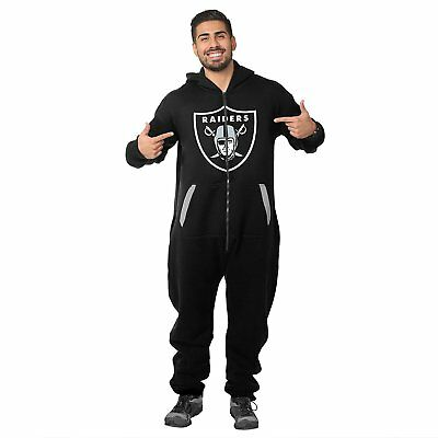 Forever Collectibles NFL Unisex Oakland Raiders Logo Jumpsuit, Black