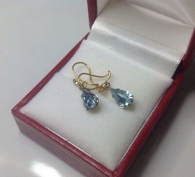 beautiful Vintage aquamarine and gold droplet earrings