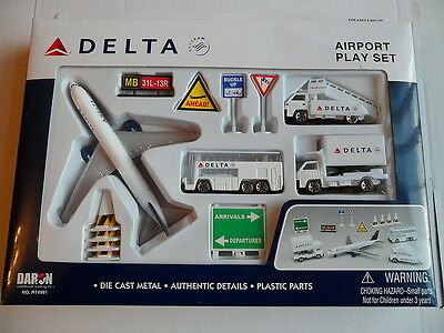 DELTA Airlines AIRPORT PLAY SET & Model Aircraft Airplane Bus Truck Vehicles USA