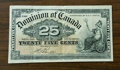 Canada PK# 9b 1900 25 Cent Banknote