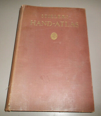 VINTAGE 1930 Stielers Hand-Atlas w/ Colored Maps