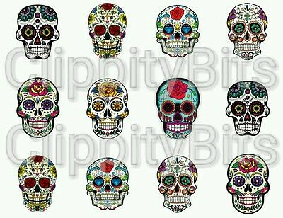 "50 x 1"" Inch Pre Cut Bottle Cap Images Multicoloured  Sugar Skull Crafts Bows"