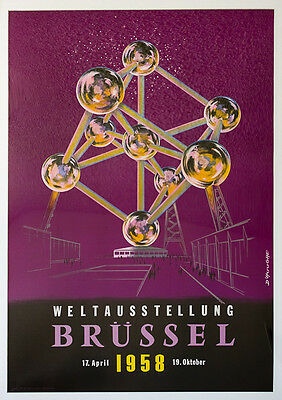 """Original Travel Airlines Poster """"brussels"""" 58. D'hooghe Linenbacked"""
