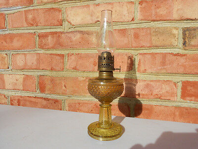 Old Antique Amber Fishscale Miniature Oil Lamp 1877 Patent