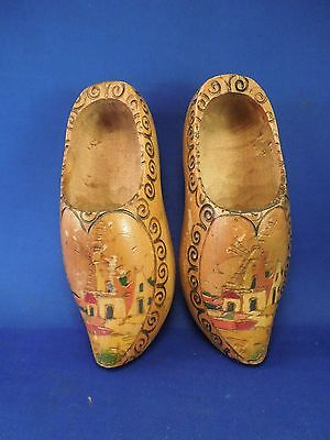 Vintage Holland Decorative Hand Painted Wooden Shoes Clogs Windmill Town Art