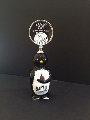 VERY RARE-ONE BARREL BREWING COMPANY TAP HANDLE-Madison, Wis  BANJO CAT