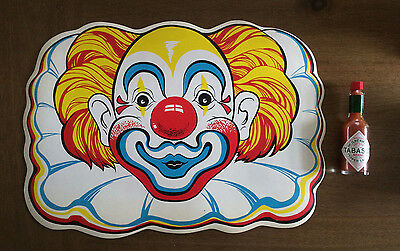 Vintage Colorful Clown Placemat, Looks like Bozo or a Circus Clown - Cool Spooky
