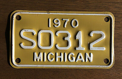 Vintage 1970 Michigan Motorcycle License Plate S0312 Near Mint Condition
