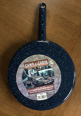 """Camp & Cabin Blue White Speckled Enamel Ware Fry Frying Pan 9.75"""" - New"""