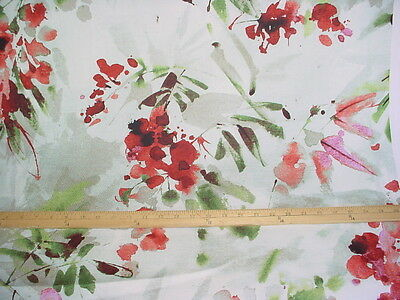 Braemore Reds / Pistachio Green Poppies Print Drapery Upholstery Fabric