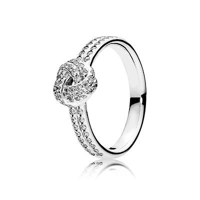 Genuine Authentic Pandora Silver Sparkling Love Knot Ring 190997Cz Size 56