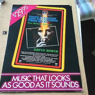 """David Bowie """"zingy stardust"""". 1984 vhs  Promo poster/display"""