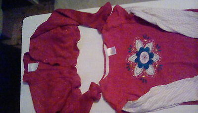 Girl's red Christmas sparkly cardigan and red top Age 3-5 approx