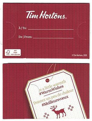( 2 ) Tim Hortons 2015 CAN Warm Wishes Gift Card Envelope Holders
