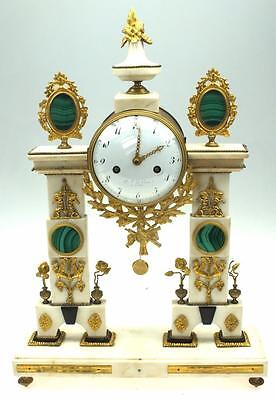 Antique Malachite French Empire White Marble & Bronze Portico 8 Day Mantel Clock